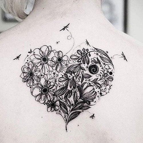 Heart Flower Tattoo Designs