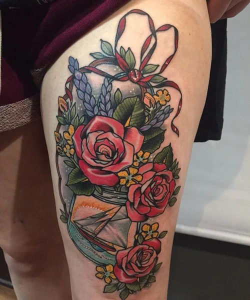 Pretty Floral Thigh Tattoo Designs For Girls