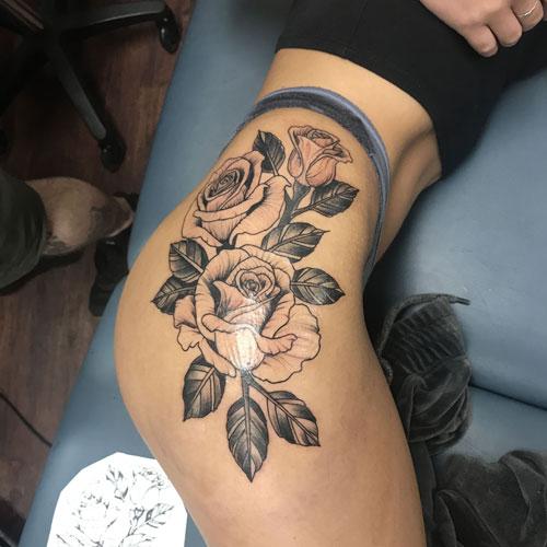 Simple Rose Thigh Tattoo Designs