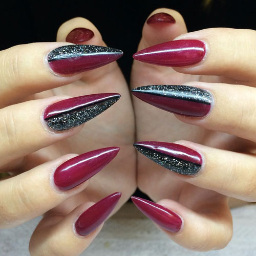 Cute Red and Black Stiletto Nails