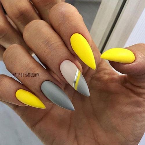 Matte Yellow Stiletto Nails