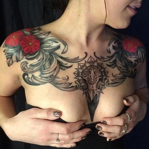 Animal Skull Chest Tattoo