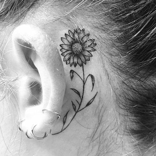 Behind The Ear Sunflower Tattoo Design Ideas