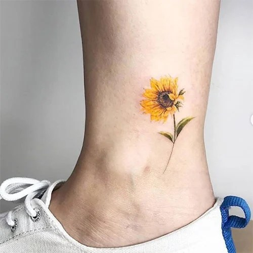 Colorful Sunflower Ankle Tattoo