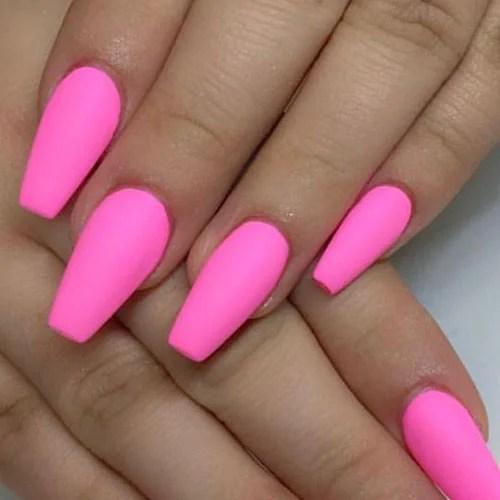 Hot Pink Matte Nails