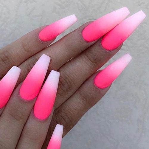 Ombre Matte Pink Nails