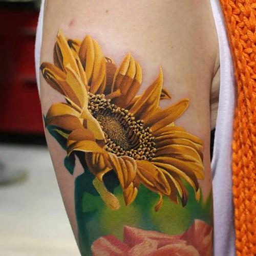Realistic Sunflower Tattoo