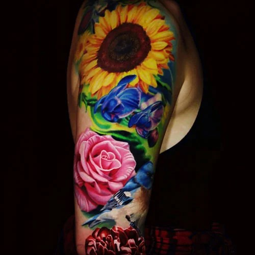 Realistic Sunflower and Rose Tattoo