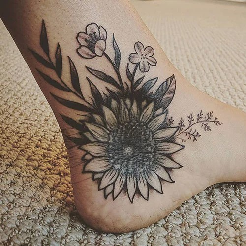 Sunflower Ankle Tattoo