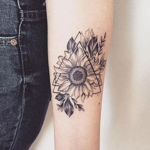 Sunflower Black and White Tattoo Ideas