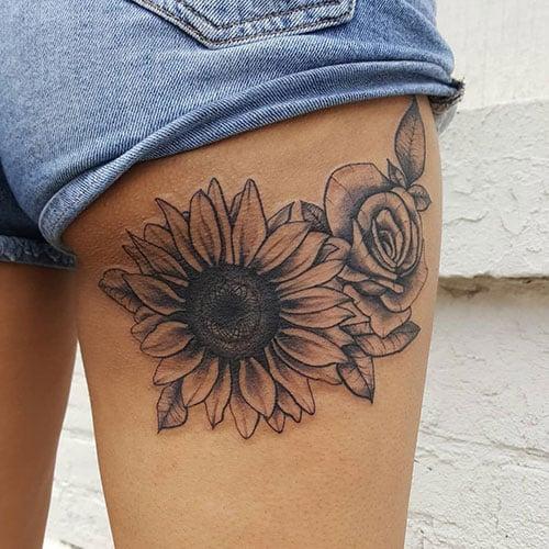 Sunflower Rose Tattoo