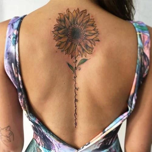 Sunflower Spine Tattoo