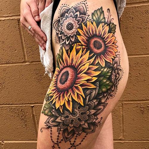 Sunflower Thigh Tattoo