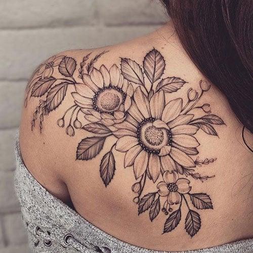 Sunflower Vine Back Tattoo