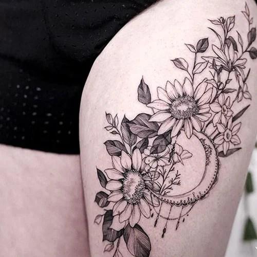 Thigh Sunflower Tattoo Ideas