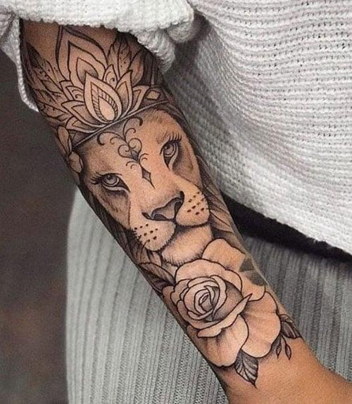 Lion Forearm Tattoos Women