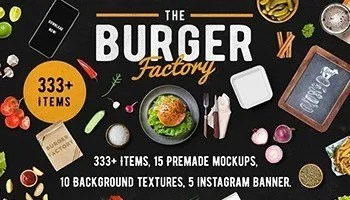 Hungry? Download Burger Bar Scene & Mock-up Generator - Hamburger