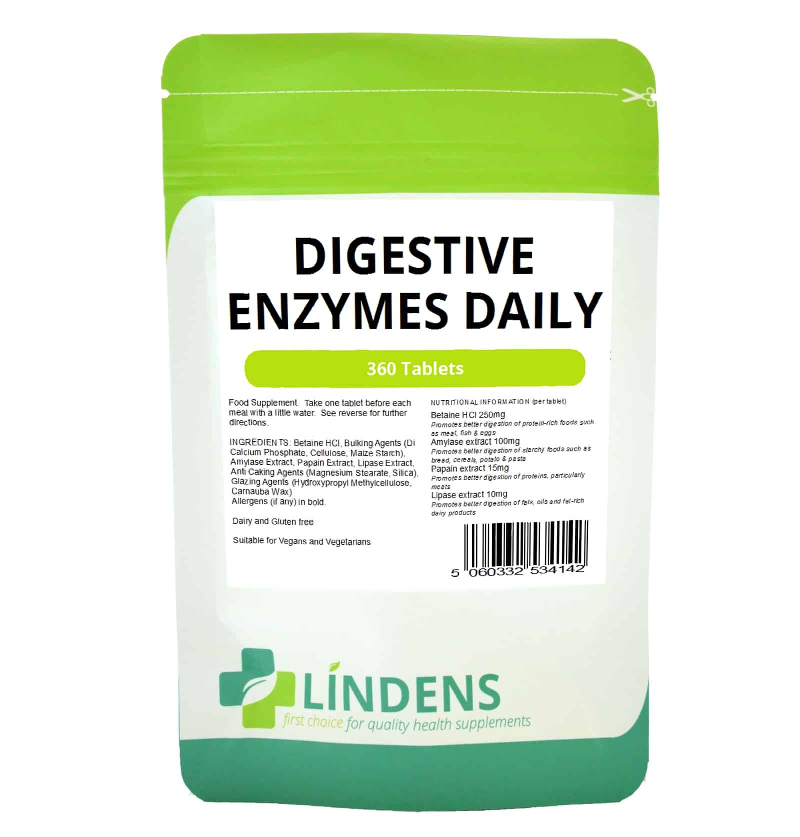 Digestive Enzymes Daily Tablets (360 pack) - Top Vitamins | 24 Hr Dispatch  | FREE Delivery