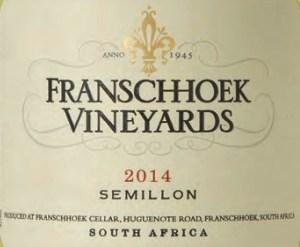 Franschhoek Vineyards Semillon 2014