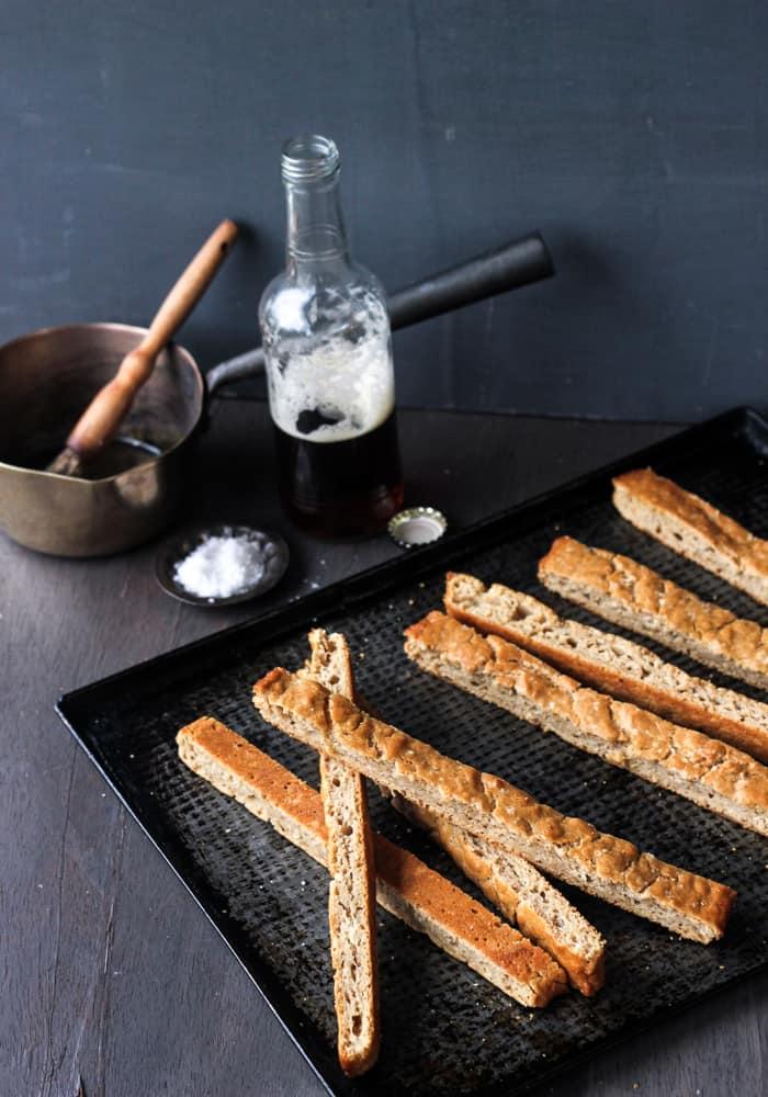 3-ingredient Beer Bread Sticks (no knead, no rise)