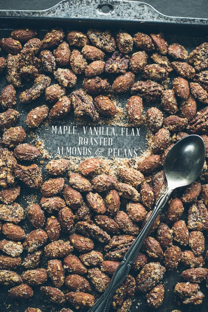Maple, Vanilla, Flax Roasted Almonds and Pecans