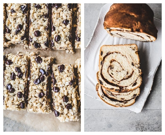 Chewy, Chocolate Chip, Coconut Granola Bars {GF, Vegan} and Pecan-Raisin Cinnamon Swirl Bread {Vegan}