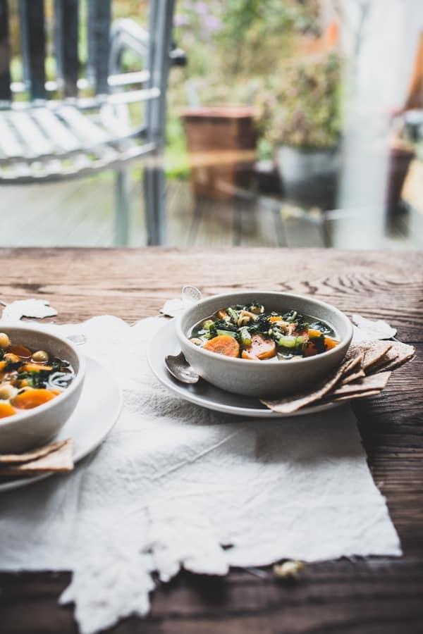Healing Green Tea & Chickpea Soup with Garlic Tortilla Triangles