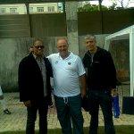 Donizete, ao lado de Alfredo Coimbra e Evandro Pinheiro, no campo do Granbery