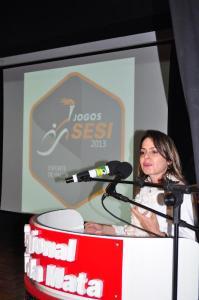 A diretora da BD em Juiz de Fora, Ana Paula Pires Santiago, falou em nome de todos os participantes dos Jogos Sesi Juiz de Fora