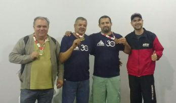 """Premiação da sinuca dos Jogos Sesi Juiz de Fora 2017.  Marivaldo de Souza (Alubras): """"É muito emocionante poder ser bicampeão"""""""