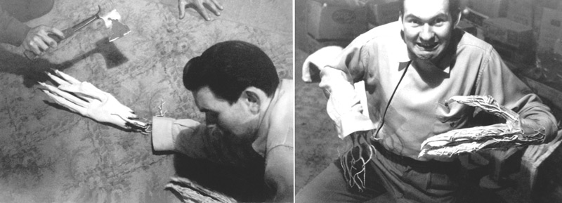 ca. 1957, gag photograph of Bob Burns and Paul Blaisdell (the hands with the hatchet at the top of the photo on the left).