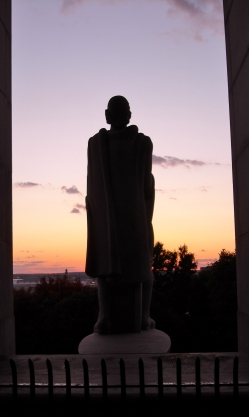 Roger Williams looks out over Providence--perhaps a little disturbed by what he sees.