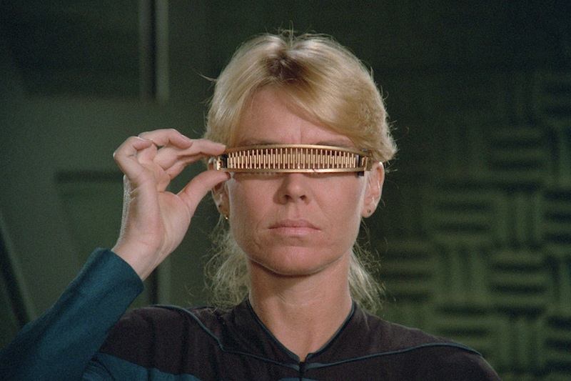 A test for Geordi's VISOR (Photo credit: CBS Digital)