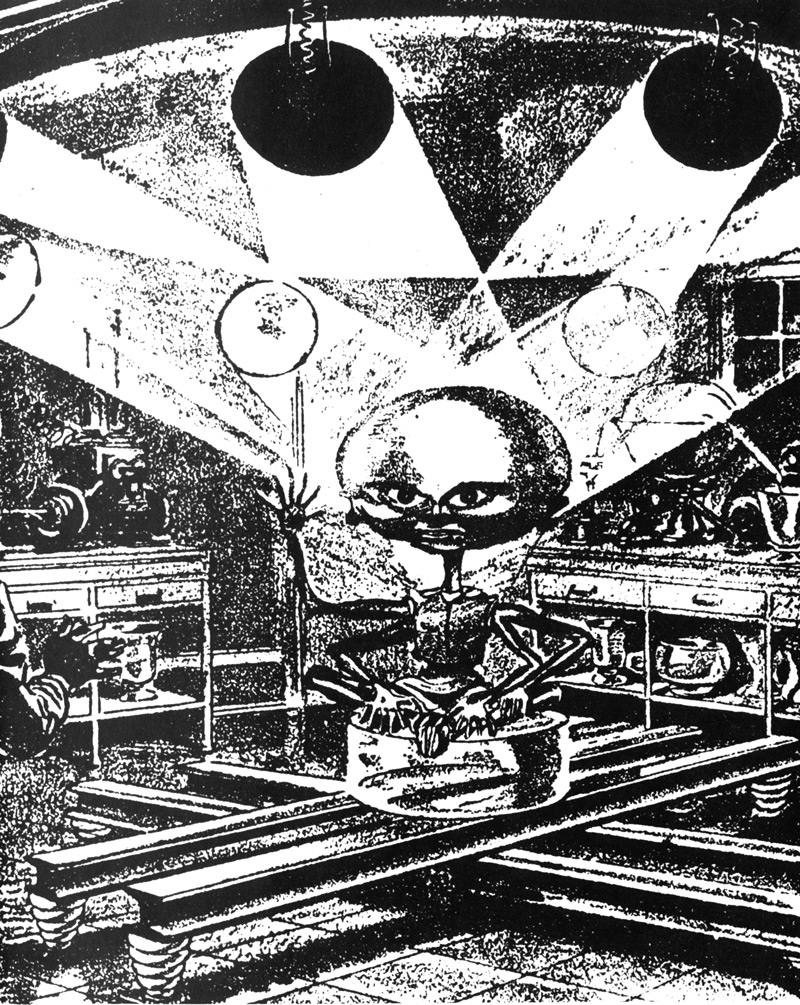 This is a detail of Hans Wessolowski's carbon pencil and ink illustration from the June 1937 issue of Astounding Stories.  It illustrated