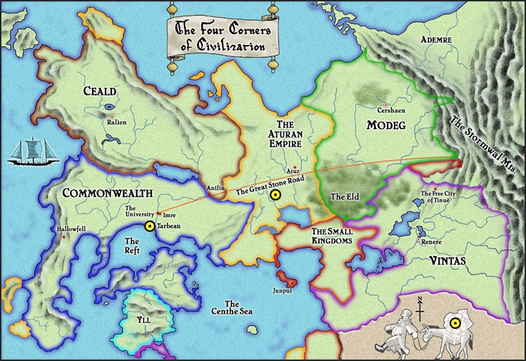 """Name Of The Wind Map Rothfuss Reread: Speculative Summary 1: """"Inside edges. Holes"""