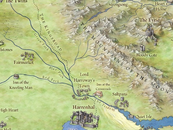 New Song of Ice and Fire map of the Eyrie and the Vale from Bantam Books' forthcoming The Lands of Ice and Fire