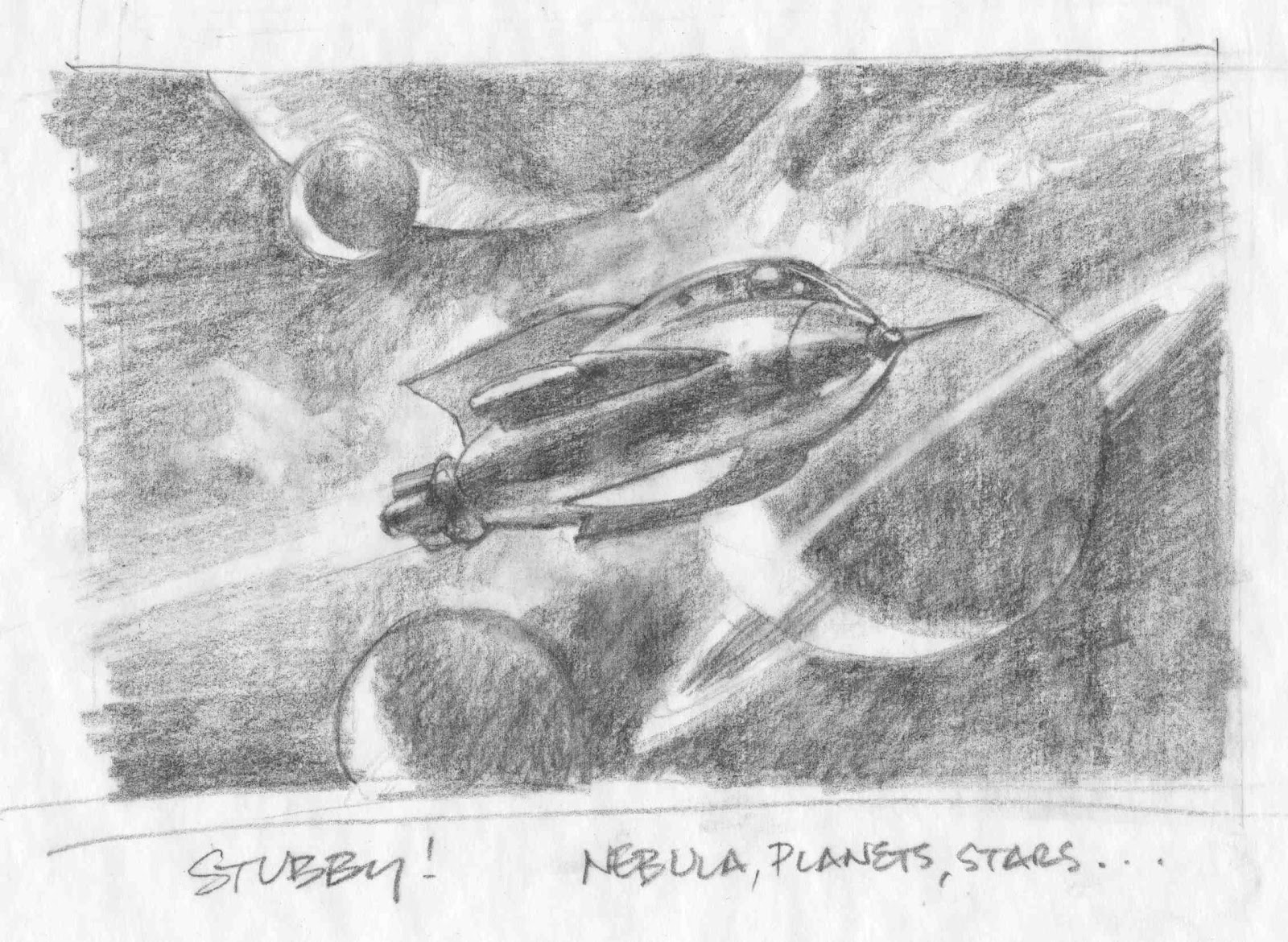 Stubby the Rocket in space by Gregory Manchess
