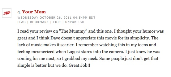 Actual comment from my mom. Poor Dave is actually a good friend of mine. (For real)