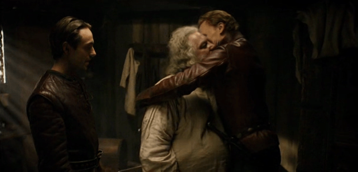 Hal embraces Falstaff in what can easily become a Judas' Kiss moment depending on what the director and actors do.