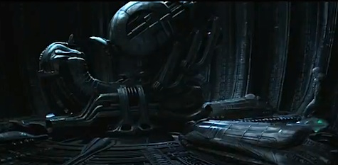 On the far left, there is totally a weird dude walking towards the Space Jockey.