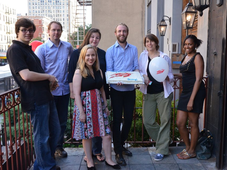 Tor.com command staff as of summer 2012: Carl Engle-Laird, Chris Lough, Emily Asher-Perrin (front), Bridget McGovern (back), Ryan Britt, Irene Gallo, Nicole Macajoux