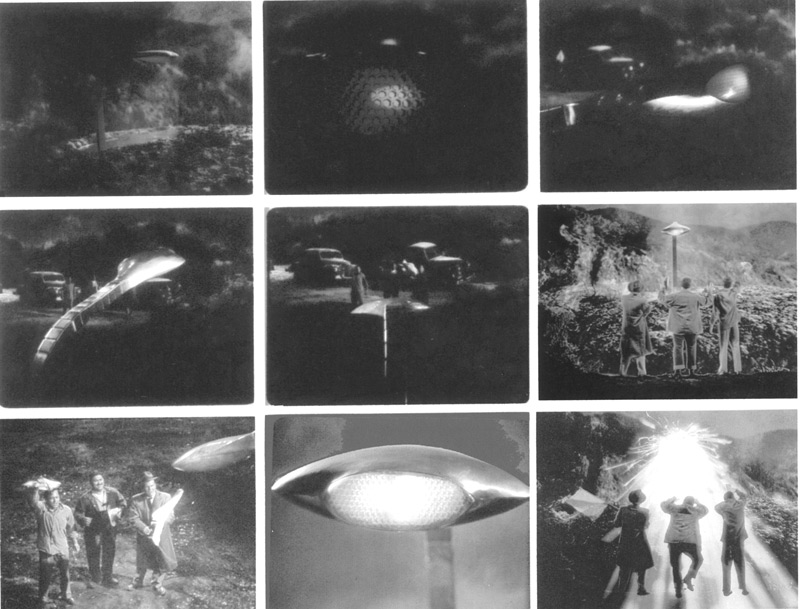 These frames blow-ups from The War of the Worlds correspond almost exactly to the continuity drawings supervised by Albert Nozaki.  In this sequence, Wash Perry (Bill Phipps), Salvador (Jack Kruschen) and Alonzo Hogue (Paul Birch) approach the meteor in the hope that the emerging Martians will respond favorably to their waving of a white flag. Click to enlarge.