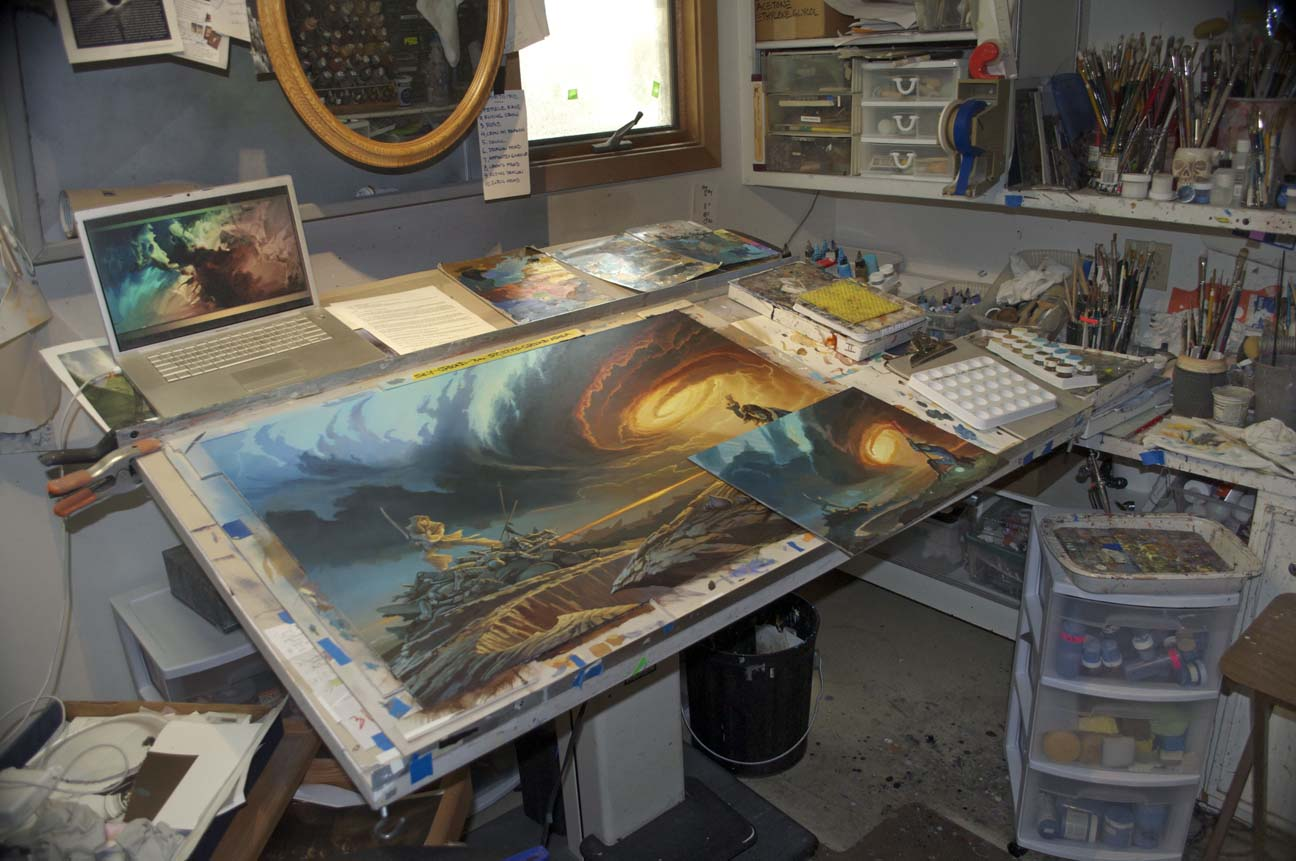Michael Whelan painting Brandon Sanderson's Words of Radiance.