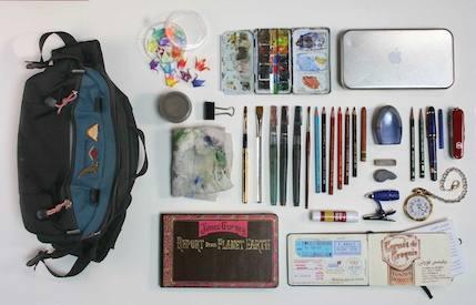 Gurney's art bag at Tor.com Art Department
