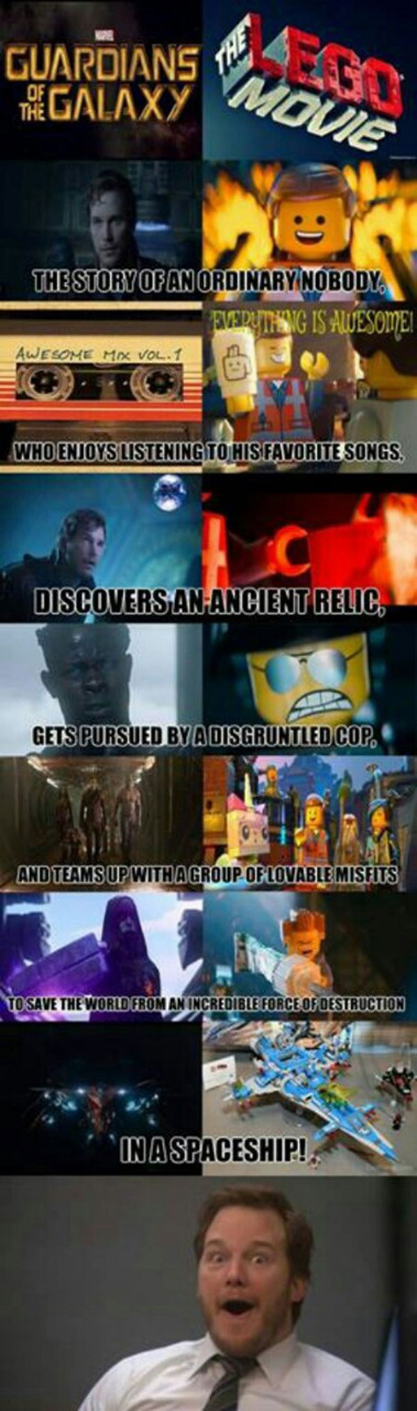proof that Guardians of the Galaxy and The Lego Movie are the same movie The Special spaceship Chris Pratt funny