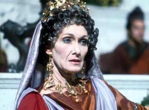 Livia, in I Claudius, doing an admirable job getting us to believe she is watching hypothetical off-screen gladiators.