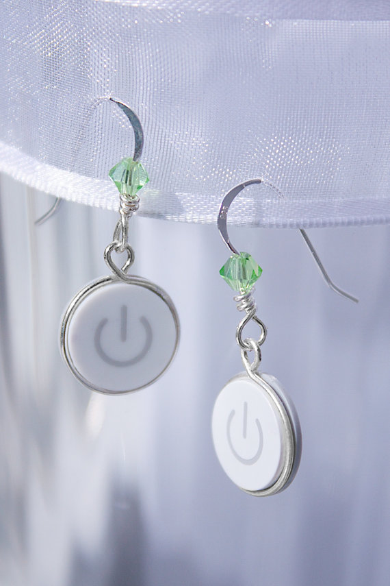 Power Button Earrings by Techno Chic