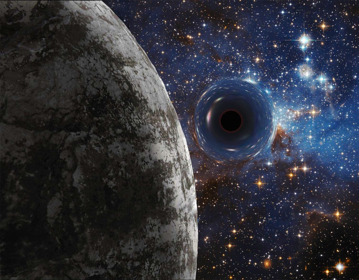 Rendition of a black hole planet by Ron Miller. Click to enlarge.