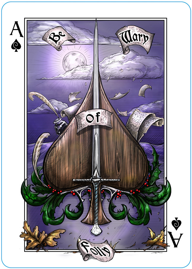 The Name of the Wind playing cards ace of spades
