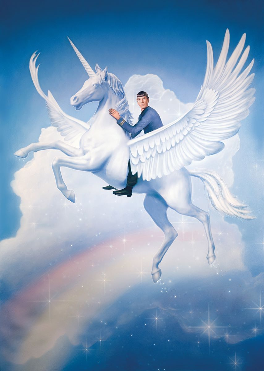 this painting of spock riding a unicorn is highly logical